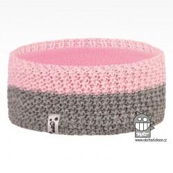 Čelenka pletená Rigi - vzor 19 - růžovo šedá