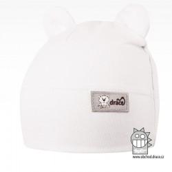 Bavlněná kojenecká čepice Berry - vzor 01 - bílá