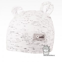 Bavlněná kojenecká čepice Berry - vzor 02 - bílá / melír