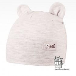 Bavlněná kojenecká čepice Berry - vzor 03 - šedá