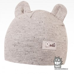 Bavlněná kojenecká čepice Berry - vzor 04 - šedá / melír