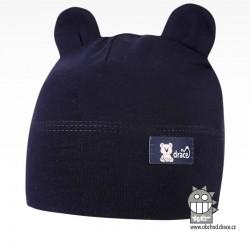 Bavlněná kojenecká čepice Berry - vzor 08 - tmavě modrá