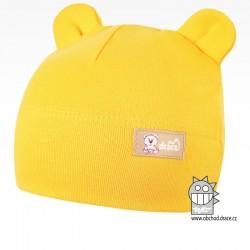 Bavlněná kojenecká čepice Berry - vzor 13 - žlutá