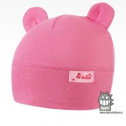 Bavlněná kojenecká čepice Berry - vzor 16 - růžová