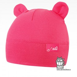 Bavlněná kojenecká čepice Berry - vzor 17 - růžová neon