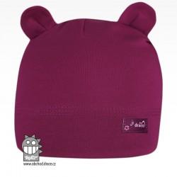 Bavlněná kojenecká čepice Berry - vzor 22 - fialová