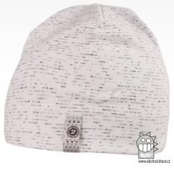 Bavlněná čepice Alan - vzor 02 - bílá / melír