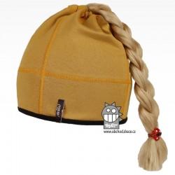 Bavlněná čepice na culík - vzor 01 - hořčicová tmavá