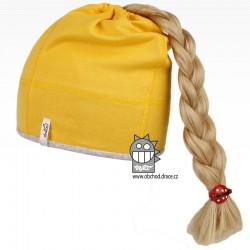Bavlněná čepice na culík - vzor 02 - žlutá