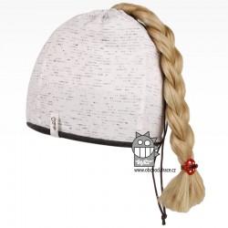 Bavlněná čepice na culík - vzor 03 - bílá melír