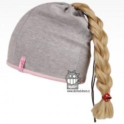 Bavlněná čepice na culík - vzor 04 - šedá