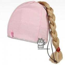 Bavlněná čepice na culík - vzor 05 - světle růžová