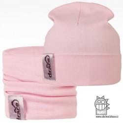 York set čepice a nákrčníku - vzor 01 - světle růžová