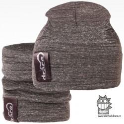 York set čepice a nákrčníku - vzor 06 - středně šedá / melír