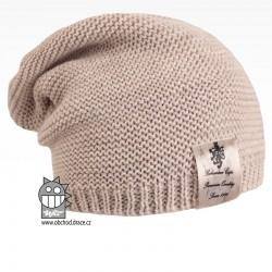 Pletená čepice Colors - vzor 02 - béžová