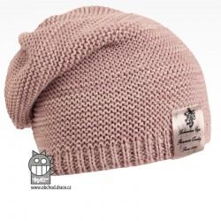 Pletená čepice Colors - vzor 03 - starorůžová