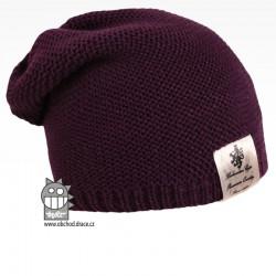 Pletená čepice Colors - vzor 07 - tmavě fialová