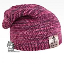 Pletená čepice Colors - vzor 08 - růžový melír