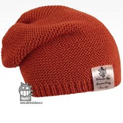 Pletená čepice Colors - vzor 10 - rezavá