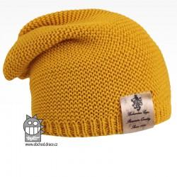 Pletená čepice Colors - vzor 12 - hořčicová