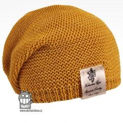 Pletená čepice Colors - vzor 13 - tmavá hořčicová