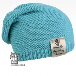 Pletená čepice Colors - vzor 15 - světle tyrkysová