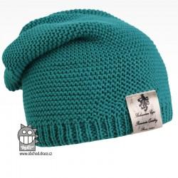 Pletená čepice Colors - vzor 16 - petrolejová