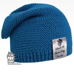 Pletená čepice Colors - vzor 17 - modrá