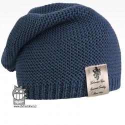 Pletená čepice Colors - vzor 18 - modrošedá