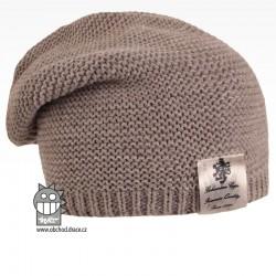 Pletená čepice Colors - vzor 21 - šedohnědá