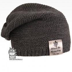 Pletená čepice Colors - vzor 22 - tmavě šedá