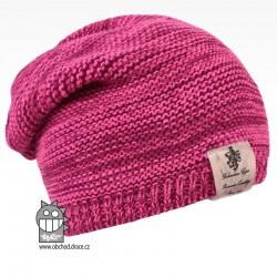 Pletená čepice Colors - vzor 25 - růžový melír NEON