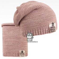 Čepice pletená a nákrčník Colors set - vzor 03 - starorůžová