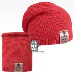 Čepice pletená a nákrčník Colors set - vzor 05 - korálová