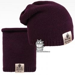 Čepice pletená a nákrčník Colors set - vzor 07 - tmavě fialová