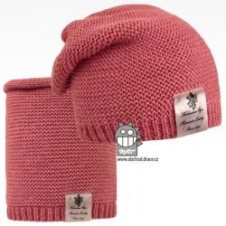 Čepice pletená a nákrčník Colors set - vzor 09 - cihlová