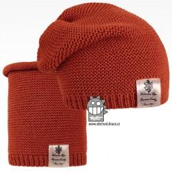 Čepice pletená a nákrčník Colors set - vzor 10 - rezavá