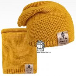 Čepice pletená a nákrčník Colors set - vzor 12 - hořčicová