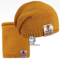Čepice pletená a nákrčník Colors set - vzor 13 - tmavě hořčicová