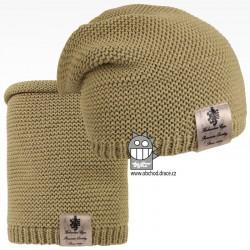 Čepice pletená a nákrčník Colors set - vzor 14 - olivová