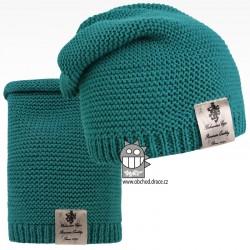 Čepice pletená a nákrčník Colors set - vzor 16 - petrolejová