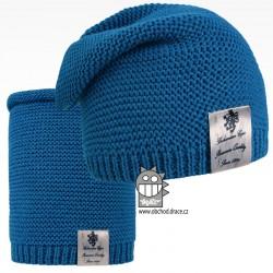 Čepice pletená a nákrčník Colors set - vzor 17 - modrá