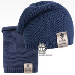 Čepice pletená a nákrčník Colors set - vzor 18 - modrošedá