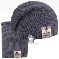 Čepice pletená a nákrčník Colors set - vzor 19 - jeans modrá