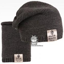 Čepice pletená a nákrčník Colors set - vzor 22 - tmavě šedá