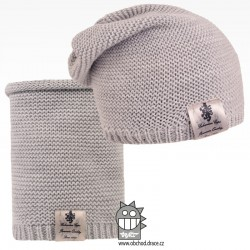 Čepice pletená a nákrčník Colors set - vzor 01 - šedá
