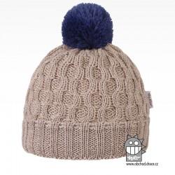 Merino pletená čepice Vanto - vzor 01 - béžová