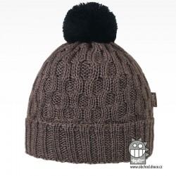 Merino pletená čepice Vanto - vzor 02 - šedo hnědá
