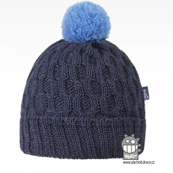 Merino pletená čepice Vanto - vzor 04 - šedo modrá