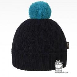 Merino pletená čepice Vanto - vzor 05 - modrá tmavá